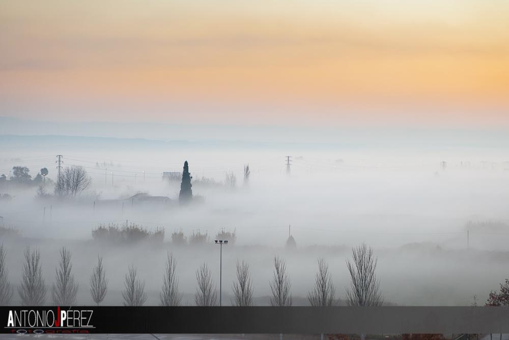Un precioso amanecer entre la niebla zaragozana